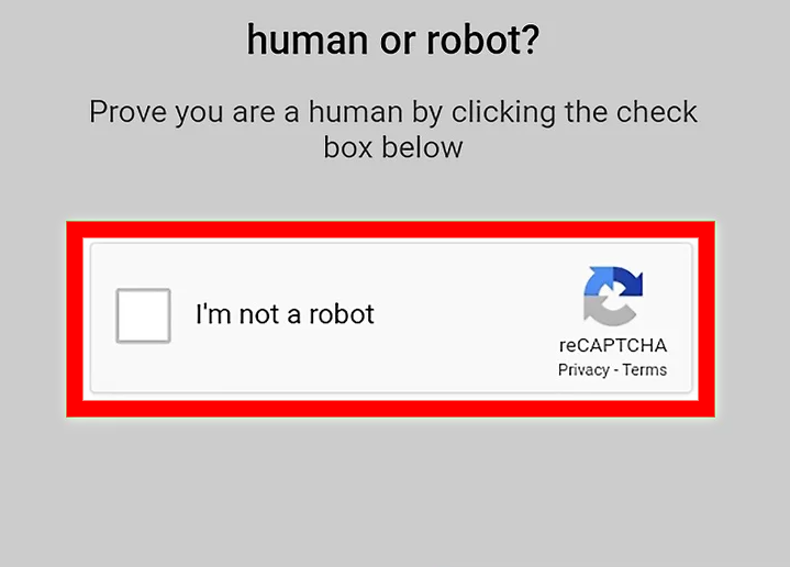 I'm not a robot box